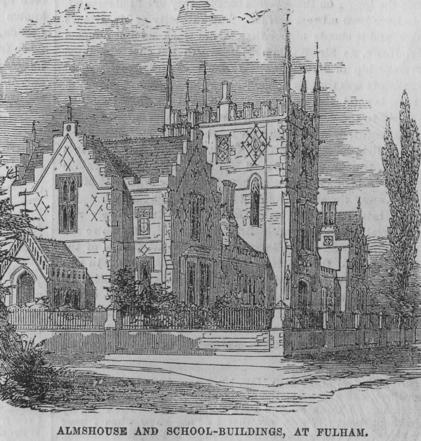 Engraving of Fulham Almshouse and School Building