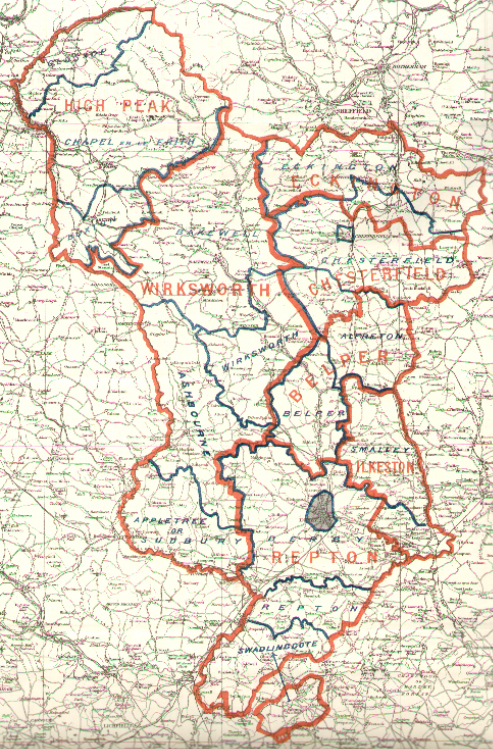 Map Of England Derbyshire.Map Of Derby County 1885 England