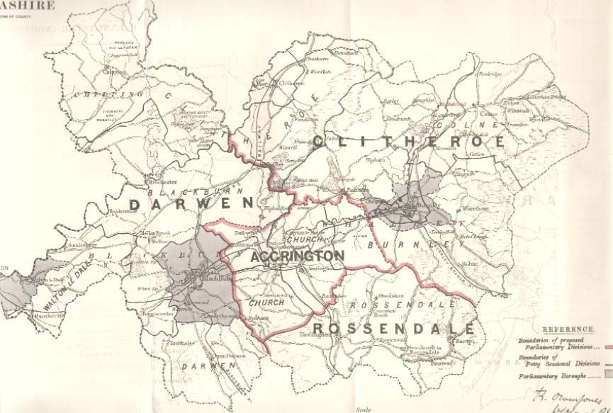 Lancashire Map County of North East 1885