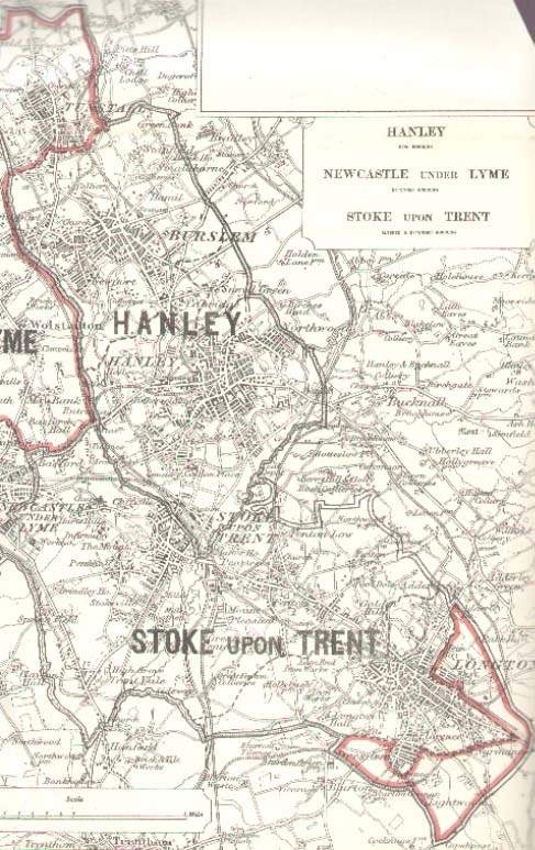 Map of the Boroughs of Hanley Newcastle under Lyme Stoke upon