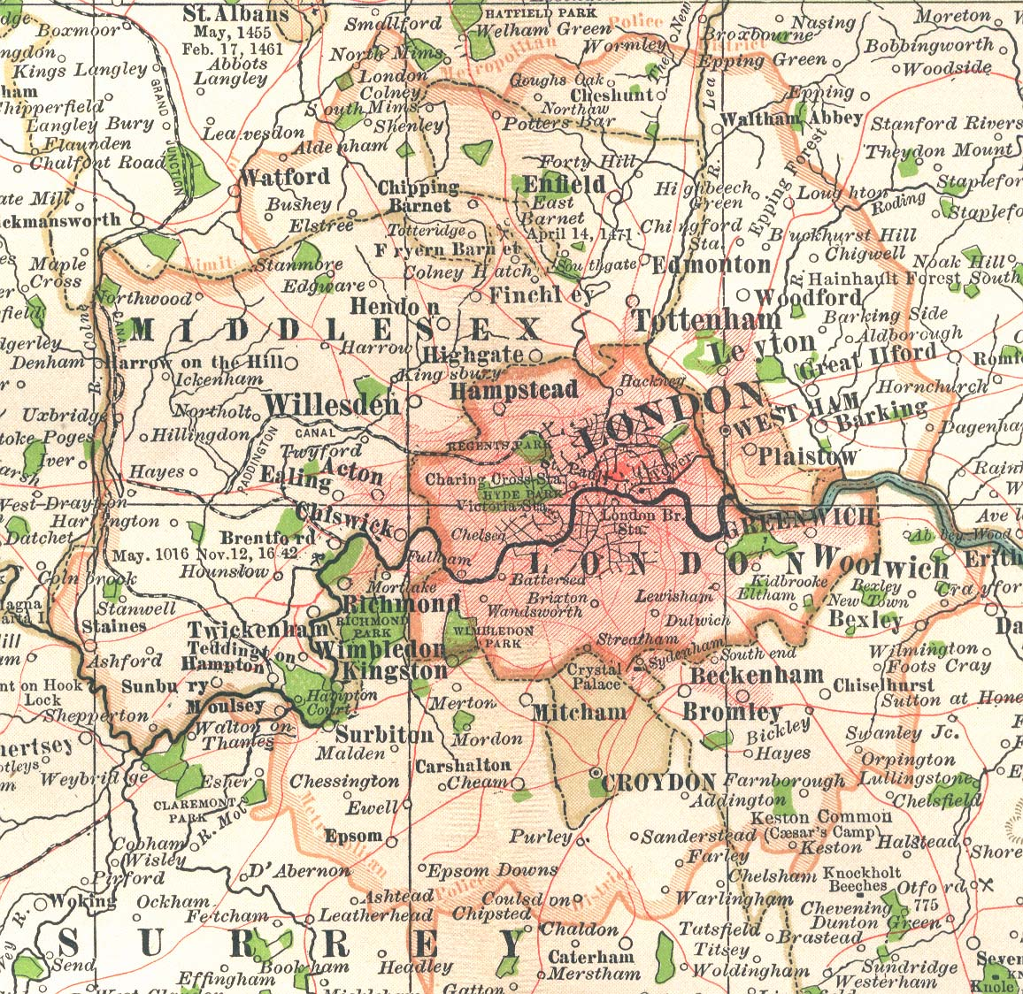 Map Around London.Map Of London In 1897