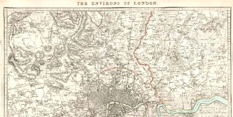 Map of North London 1832 by SDUK